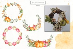 Watercolor Pumpkins. Clipart, cards, seamless patterns Product Image 11