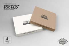 Medium Square Paper Box and Lid Packaging Mockup Product Image 3