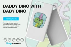 Daddy Dino Carries Baby Dino Vector Illustration For T-Shirt Product Image 3