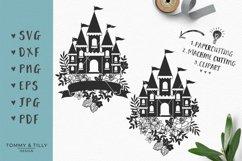 Floral Princess Castle - SVG DXF PNG EPS JPG PDF Cut File Product Image 1