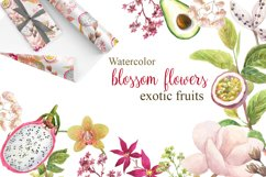 Watercolor flowers,exotic fruits. Product Image 1