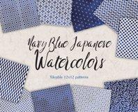 Navy Blue Digital Paper Japanese Background Patterns Product Image 1
