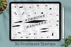 30 Procreate Banner Stamp, Ribbon stamps, Planner Stamps Product Image 1