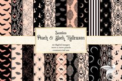 Peach and Black Halloween Digital Paper Product Image 1