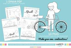 Girl Clipart coloring pages in PNG and PDF format Product Image 2