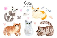 Watercolor Cute Cats. Patterns and Cliparts Product Image 2