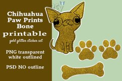 Chihuahua Gold Glitter Printable Sticker SET Product Image 1