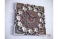 C04 - Mandala Flower Clock, Layered Clock DXF, Clock SVG Product Image 5
