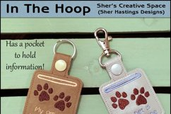 ITH Pet Home Alone Paw Print Key Fob with Pocket - Snap Tab Machine Embroidery Product Image 1