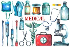 Watercolor Medical Clipart Product Image 2