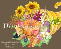 Watercolor Thanksgiving Clipart - Horn of Plenty, PNG Product Image 5