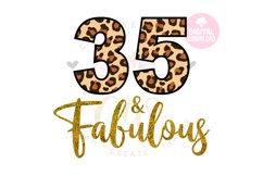 35 and Fabulous svg   35th Birthday svg   Leopard Birthday Product Image 1