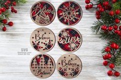 Believe Christmas Rounds Coaster Set SVG Glowforge Files Product Image 1