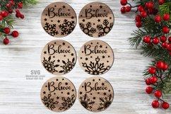 Believe Christmas Rounds Coaster Set SVG Glowforge Files Product Image 4