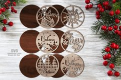 Believe Christmas Rounds Coaster Set SVG Glowforge Files Product Image 3