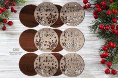 Believe Christmas Rounds Coaster Set SVG Glowforge Files Product Image 2