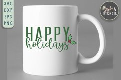 Happy Holidays SVG | Christmas | Holly Product Image 5