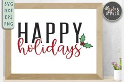 Happy Holidays SVG | Christmas | Holly Product Image 1