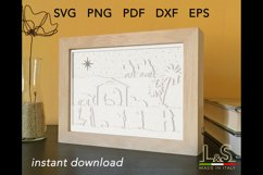 Christmas nativity shadow box template preview