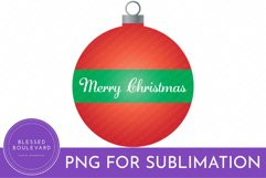 Christmas Ornament Sublimation Design - Merry Christmas PNG