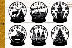 Snow Globe Bundle SVG,Christmas Papercut,Merry Christmas SVG Product Image 6