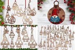 Christmas Gnome Ornament SVG Glowforge Files Bundle 41 Product Image 1