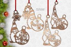 Christmas Snowflake Gnome Ornaments SVG Glowforge Bundle Product Image 2