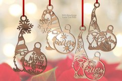 Christmas Snowflake Gnome Ornaments SVG Glowforge Bundle Product Image 1