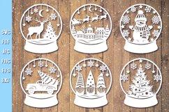 Snow Globe Bundle SVG,Christmas Papercut,Merry Christmas SVG Product Image 5