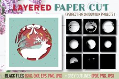 Christmas Layered Papercut SVG Cut File - Shadow Box - Stag Product Image 1