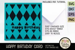 Happy Birthday Card SVG - Argyle Birthday Card Cutting File Product Image 2