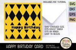Happy Birthday Card SVG - Argyle Birthday Card Cutting File Product Image 3