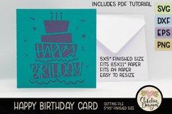 Happy Birthday Card SVG - Cake Birthday Card Cutting File Product Image 2