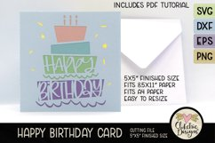 Happy Birthday Card SVG - Cake Birthday Card Cutting File Product Image 3