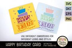 Happy Birthday Card SVG - Cake Birthday Card Cutting File Product Image 5