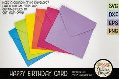 Happy Birthday Card SVG - Cake Birthday Card Cutting File Product Image 6