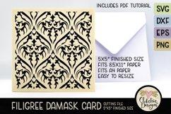 Filigree Damask Card SVG - Filigree DamaskCard Cutting File Product Image 1