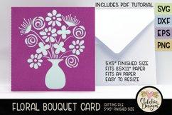 Floral Bouquet Card SVG - Floral Bouquet Card Cutting File Product Image 3