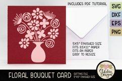 Floral Bouquet Card SVG - Floral Bouquet Card Cutting File Product Image 2