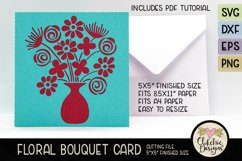 Floral Bouquet Card SVG - Floral Bouquet Card Cutting File Product Image 1