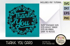Thank You Card SVG - Floral Wreath Thank You Card SVG Product Image 1