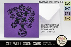 Floral Bouquet in Vase featuring words Get Well Soon on handmade card