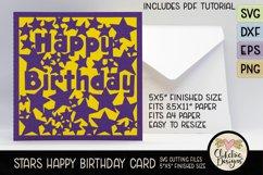 Happy Birthday Card SVG - Stars Birthday Card Cutting File Product Image 6