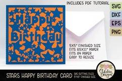 Happy Birthday Card SVG - Stars Birthday Card Cutting File Product Image 4