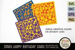 Happy Birthday Card SVG - Stars Birthday Card Cutting File Product Image 2