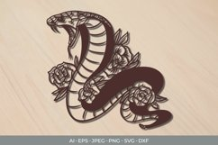 Cobra and Roses Papercut SVG Product Image 1