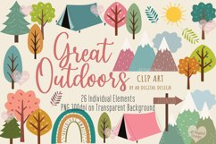 Trees, Mountains & Camping Clipart, Outdoors & Nature, PNG Product Image 1