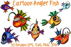 Colourful Cartoon Deep Sea Anglerfish Fish Illustrations Product Image 1