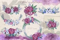 Burgundy peonies watercolor clipart set Product Image 3