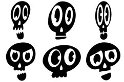 32 Black and White Cartoon Skulls Collection for Halloween Product Image 6